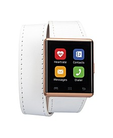 Air 2 Smartwatch Touch Screen IOS and android- 41mm White Double Wrap Leather Bands