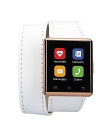 iTouch Air 2 Smartwatch Touch Screen IOS and android- 41mm White Double Wrap Leather Bands
