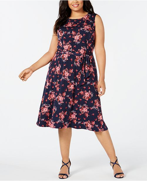 Plus Size Sleeveless Midi Dress, Created for Macy\'s