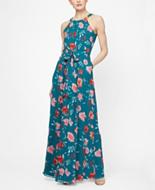 SL Fashions Floral-Print Halter Maxi Dress