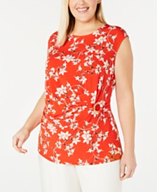 Calvin Klein Plus Size Ring-Trim Side-Ruched Printed Top