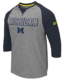Colosseum Men's Michigan Wolverines Team Patch Three-Quarter Sleeve Raglan T-Shirt