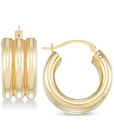 Signature Gold Diamond Accent Triple Hoop Earrings in 14k Gold Over Resin, Created for Macy's