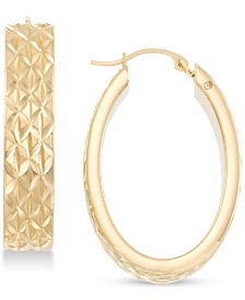 Signature Gold Diamond Accent Textured Oval Hoop Earrings in 14k Gold Over Resin, Created for Macy's