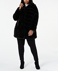 Plus Size Faux-Fur Coat with Faux-Leather-Trim