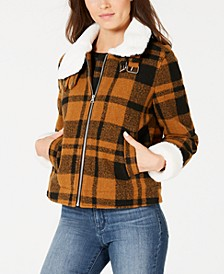 Juniors' Faux-Fur-Collar Plaid Jacket