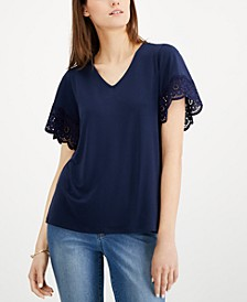 Lace-Trim V-Neck Top, Created for Macy's