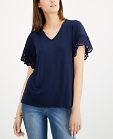 Charter Club Lace-Trim V-Neck Top, Created for Macy's