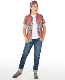 Epic Threads Big Boys Floral-Print Poplin Camp Shirt & Sutton Stretch Two-Tone Jeans, Created for Macy's