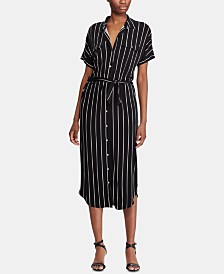 Lauren Ralph Lauren Stripe-Print Stretch Jersey Midi Shirtdress