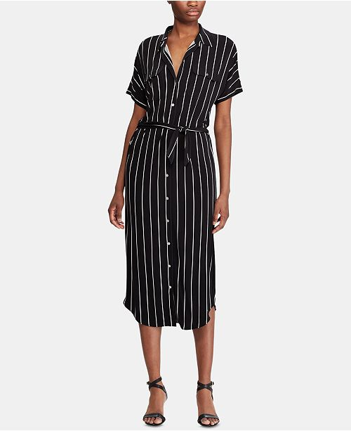 Lauren Ralph Lauren Stripe-Print Stretch Jersey Midi Shirtdress