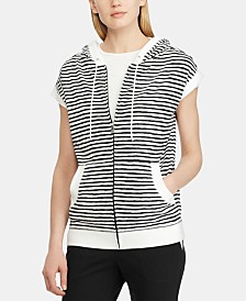 Lauren Ralph Lauren Stripe-Print Short-Sleeve Cotton Hoodie