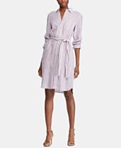 d6831b51e571 Lauren Ralph Lauren Stripe-Print Long-Sleeve Shirtdress