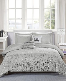 Zoey Full/Queen 5 Piece Metallic Triangle Print Duvet Cover Set