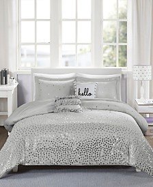 Intelligent Design Zoey Full/Queen 5 Piece Metallic Triangle Print Duvet Cover Set