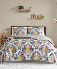 CLOSEOUT! Isadora Full/Queen 3 Piece Paisley Medallion Reversible Coverlet Set