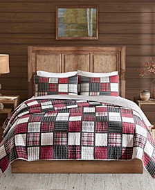 Tulsa King/California King 3 Piece Oversized Plaid Print Cotton Reversible Quilt Set