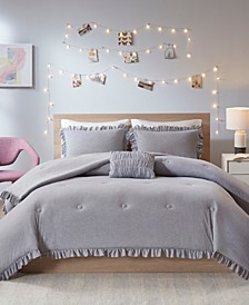 Stacey Full/Queen 4-Pc. Jersey Knit with Ruffles Comforter Set