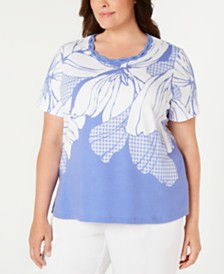 Alfred Dunner Plus Size The Summer Wind Embellished Top