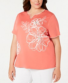 Plus Size Coastal Drive Printed Top