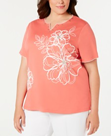 Alfred Dunner Plus Size Coastal Drive Printed Top