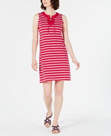 Charter Club Petite Striped Lace-Up Shift Dress, Created for Macy's