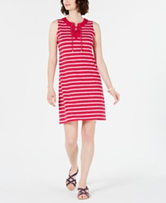 038ec2698 Charter Club Petite Striped Lace-Up Shift Dress, Created for Macy's