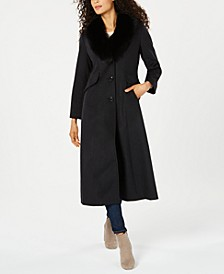 Fox-Fur-Collar Maxi Reefer Coat