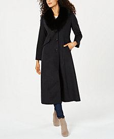 Forecaster Fox-Fur-Collar Maxi Reefer Coat