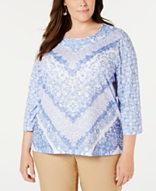 Alfred Dunner Plus Size The Summer Wind Printed Embellished Top