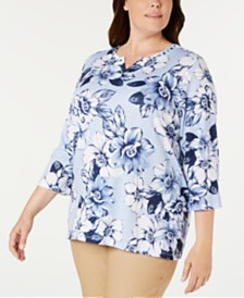 Alfred Dunner Plus Size Classic Printed 3/4-Sleeve Top