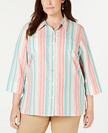 Plus Size Santa Fe Striped Textured Blouse