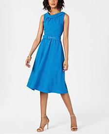 Donna Ricco Portrait-Collar A-Line Dress
