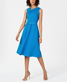 Donna Ricco Portrait-Collar A-Line Dress