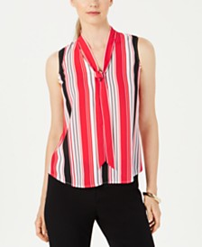 Nine West Tie-Neck Striped Blouse
