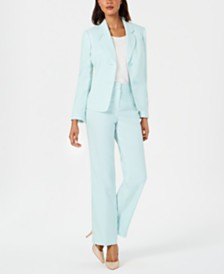 Le Suit Textured Two-Button Pantsuit