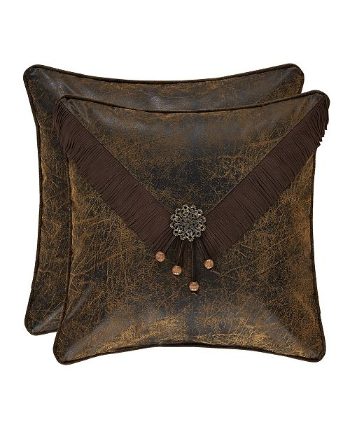 """J Queen New York J Queen Taos Brown 18"""" Embellished Square"""