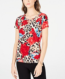 INC Petite Strappy Printed Top, Created For Macy's