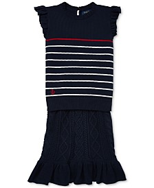Polo Ralph Lauren Big Girls Striped Cotton Sweater & Skirt Set