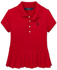 Polo Ralph Lauren Toddler Girls Pleated-Hem Stretch Mesh Polo Shirt