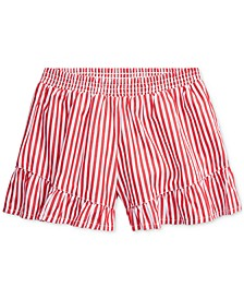 Little Girls Striped Ruffled Cotton Shorts