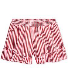 Little Girls Striped Ruffled Cotton Shorts