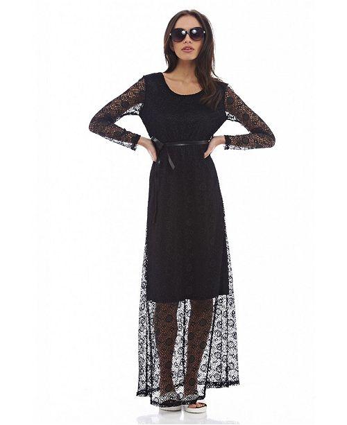 608e64087 AX Paris Lace Long Sleeved Maxi Dress & Reviews - Dresses - Juniors ...