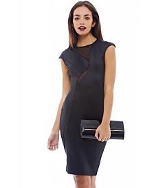 AX Paris Capped Sleeve Mesh Insert Midi Dress
