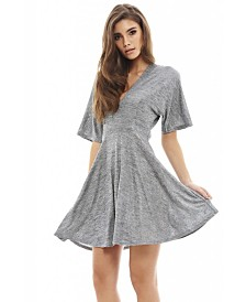 AX Paris Short Sleeve Metallic Skater Dress