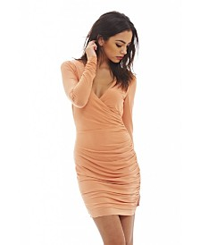 AX Paris V Front Slinky Ruched Dress
