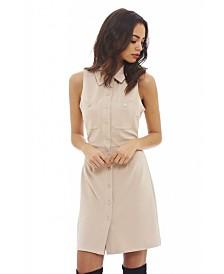 AX Paris Ribbed Sleeveless Shirt Dress