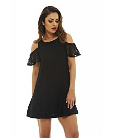 AX Paris Lace Cold Shoulder Swing Dress