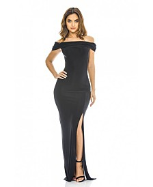 AX Paris Off the Shoulder Slinky Maxi Dress