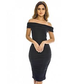 AX Paris Off Shoulder Ruched Dress
